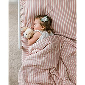 Henry and Bros. 3 Piece Crib Bedding Set – Super Soft, 100% Cotton – Premium-Quality Bedding Set for Baby Crib Dusty Rose and Cream Stripe (Rose)