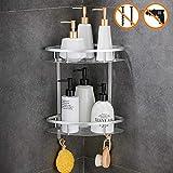Wopeite Estante de baño triangular con baldas, Cesta de ducha de dos niveles, Pintura en spray, Rinconera, Organizador de baño para pared.