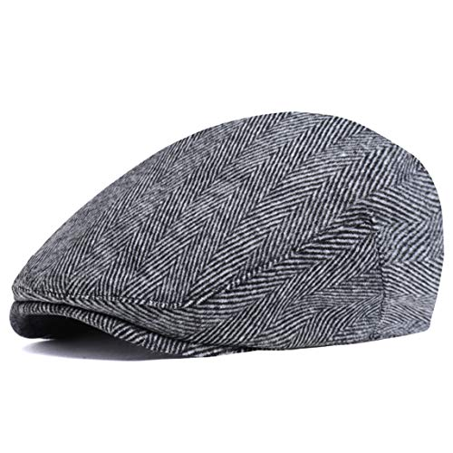 ArtiDeco Barett Cap Herren Gatsby Schirmmütze Newsboy Flat Cap Baskenmütze (Grau New, Medium/Etikettgröße- 58)