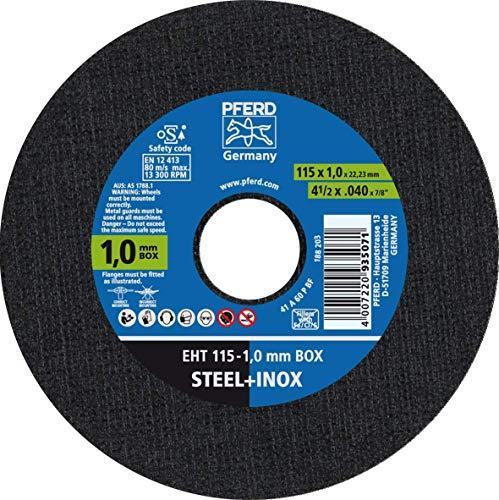 PFERD 1,0 mm Trennscheiben Box – 25 Trennscheiben 115 x 1,0 x 22,23 mm, 69120943 – für hohe Trennleistung und solide Standzeit auf Stahl und Edelstahl (INOX)