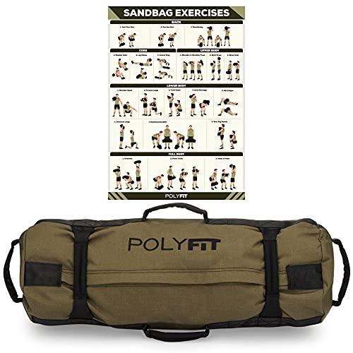 Polyfit Heavy Duty Workout Sandbag - Durable and Adjustable Fitness Sandbag with Filler Bags and 8 Gripping Handles - Sandbag for Fitness (30lbs to 75lbs) - Green