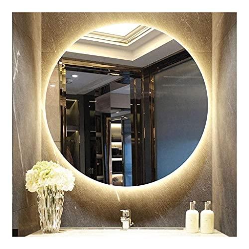 ZCYXQR Miroir de Salle de Bain Rond avec Miroir de Maquillage LED éclairé Design Gain de Place Mural