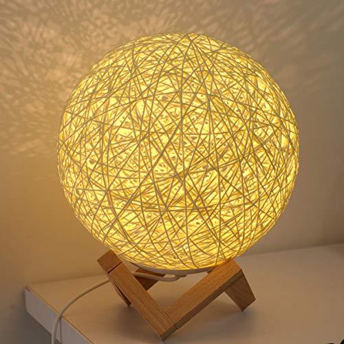 Uonlytech Lámpara de mesilla de noche de LED Lámpara de mesa de ratán con estante de madera Lámpara de escritorio de ratán para dormitorio de casa (1 unidad beige)