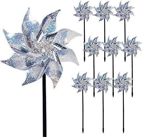 Hausse 10 Pack Reflective Pinwheels with Stakes Extra Sparkly Pin Wheel for Garden Decor Bird product image