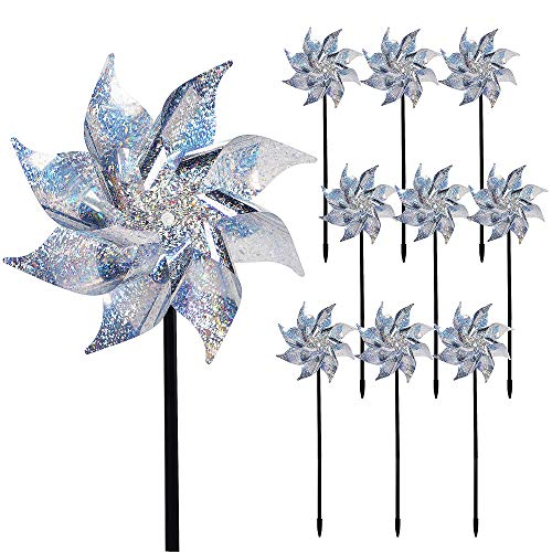 Hausse 10 Pack Reflective Pinwheels with Stakes, Extra Sparkly Pin Wheel for Garden Decor, Bird Devices Deterrent to Scare Birds Away from Yard Patio Farm