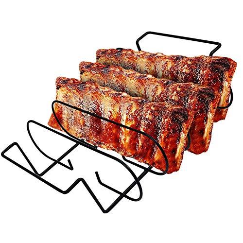 Rib Halter BBQ,Braten und Rippchenhalter Edelstahl, Rippenständer Drahtständer Zum Grillen von Lammkoteletts, Steaks und Rippchen, spülmaschinengeeignet Gasgrills sowie Holzkohlegrills.