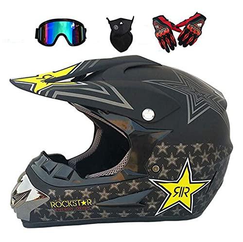 Jóvenes/Adultos Motocross Casco, D.O.T Certificado MX Off Road Casco Vespa ATV Casco con Gafas/Guantes/Mask (S-XL),A Section,S