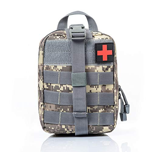 Jipemtra Tactical First Aid Bag MOLLE EMT IFAK Pouch Rip-Away Trauma First Aid Responder Medical Emergency Utility Bag Military Tactical Pouch (ACU)