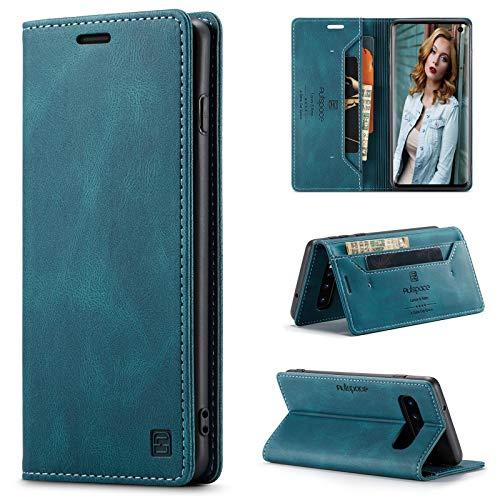 CaseNN Funda para Samsung Galaxy S10 Plus 4G Carcasa con Tarjetero Fundas Tapa Libro de Cuero PU para Mujeres Hombres Premium Magnético Suporte con Bloqueo RFID Silicona Proteccion Delgado Azul-Verde