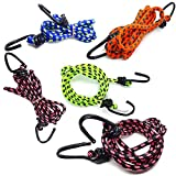 Sunkraft High Strength Elastic Nylon and Polyester Bungee/Shock Cord Cables for Bikes, Multi Color...