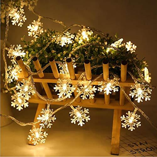 Mouwa Luci A Fiocco di Neve, Luci A Forma di Fata Luci A Forma di Fiocco di Neve da 20 Ft 40 LED Luci A Forma di Fiocco di Neve per Feste di Natale All'aperto in Interni Coperti (2 Pezzi)