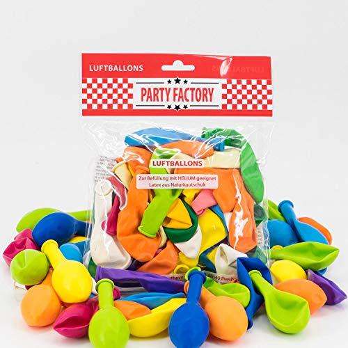 100 Luftballons 25cm bunt, für Hochzeit und Party,Silvester, Karneval, Bunt Mehrfarbig, Latexballons, Heliumballons