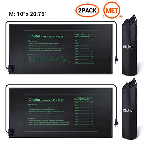 Seedling Heating Mat Ohuhu 2Pack 10quot x 2075quot Plant Heating Mats IP67 Waterproof Plant Warm Mat 18W Hydroponic Heating Pad for Indoor Seedling and Germination Bonus Storage Bag