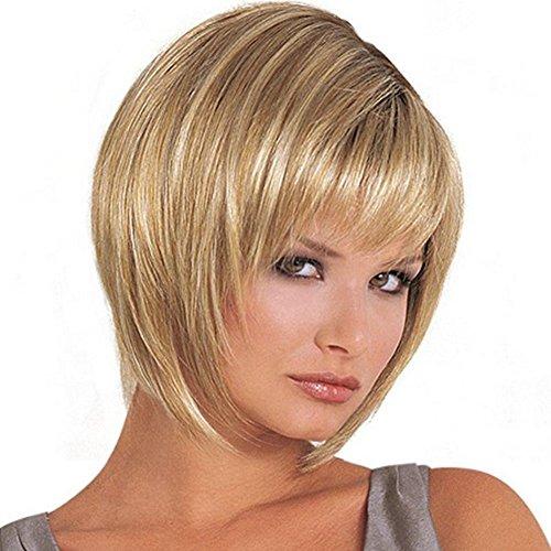 Dream Queen® courte droite Oblique Frange Perruque Cheveux Blond pour Femme