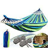 CJ Ultra Outdoors Cotton Fabric Canvas Travel Hammocks with Tree Straps 350lbs Ultralight Camping Hammock Portable Beach Swing Bed with Hardwood Spreader Bar Tree Hanging Suspended Outdoor Indoor Bed