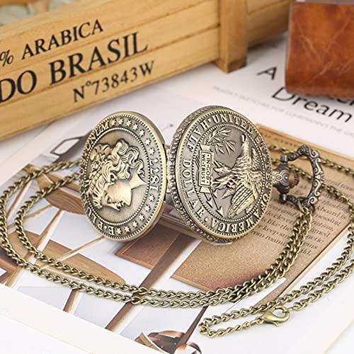 JTWMY Los Estados Unidos de América 1877 Morgan Half Dollar Copy Bronce Réplica Monedas Reloj de Bolsillo de Cuarzo-Cadena de 80 cm