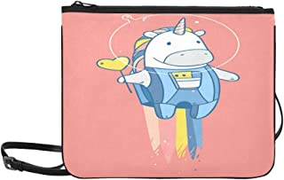 Vector Illustration Space Unicorn Tasty Red Pattern Custom High-grade Nylon Slim Clutch Bag Cross-body Bag Shoulder Bag