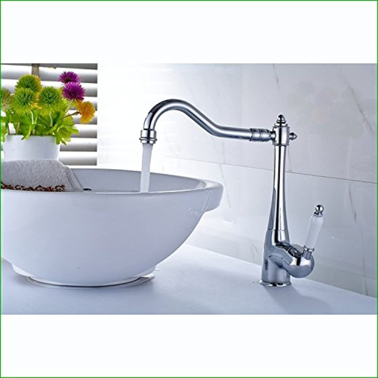 Commercial Single Lever Pull Down Kitchen Sink Faucet Brass Constructed Polished European All-Copper Chrome Kitchen Sink Bathroom Basin Hot and Cold Single Hole redating Faucet