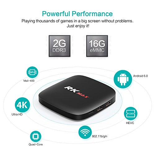 Android 6.0 TV Box Bqeel RK Max Streaming Media Player mit RK3229 Quad-core Cortex-A7 Prozeßor 2GB DDR3 + 16GB Rom, 100M LAN, Bluetooth 2.1, USB 3.0 unterstützt 4K