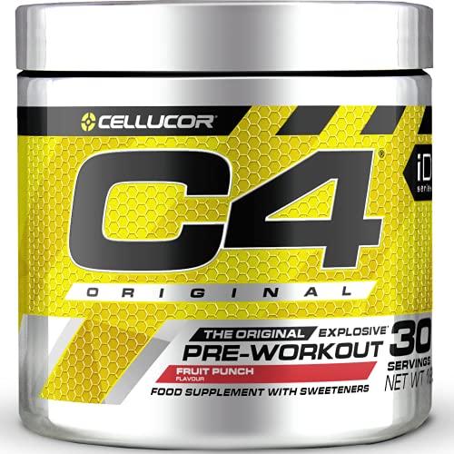 C4 Original - Suplemento en polvo para preentrenamiento - Cóctel de frutas | Bebida energética para antes de entrenar | 150mg de cafeína + beta alanina + monohidrato de creatina | 30 raciones