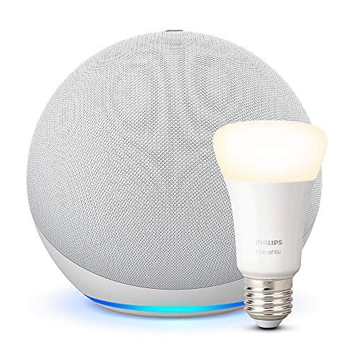 Echo (4.ª generación) | Sonido de alta calidad | Blanco + Philips Hue Bombilla Inteligente (E27), compatible con Alexa