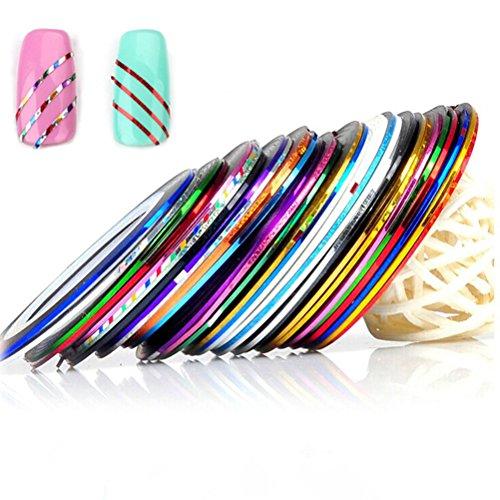 Frcolor 30 Couleur Rolls Striping Tape Ligne DIY Nail Conseils Nail Art Décoration Autocollant 30 Pcs
