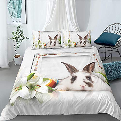Single Duvet Cover Set Rabbit Lily Flower Quilt Bedding Set with Zipper Closure in Polyester, 3pcs, 1 Printed Quilt Cover with 2 Pillowcases for Children Adults, 140x200cm