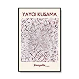 Exposición en el Museo Yayoi Kusama, cartel abstracto con pintura de caballa cielo al atardecer, lienzo sin marco A6 60x90cm
