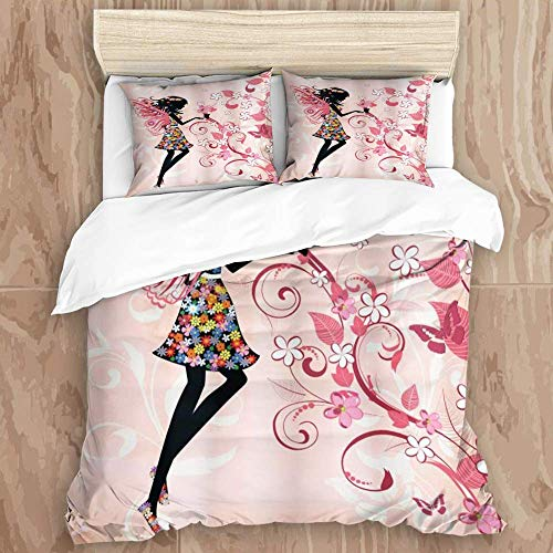 Juego de funda nórdica de 3 piezas de fácil cuidado y 2 fundas de almohada, silueta de niña de ángel floral con flores de color arcoíris en flor, fondo rosa pastel, elegante funda de edredón de microf