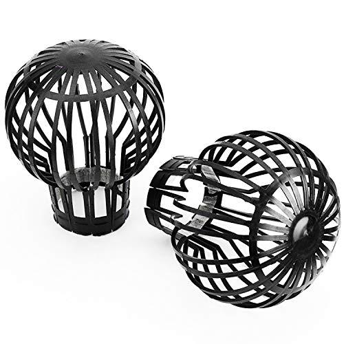 Garden Mile® 2 x Abflussrohr und Dachrinnenfilter, einfache nicht korrosive Ballonrinnenentwässerung und Filtration, schwarz