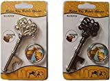 Beer Bottle Opener Keychain Skeleton Key, 2 of pack (Antique Copper&Silver) (Blister Packaging)