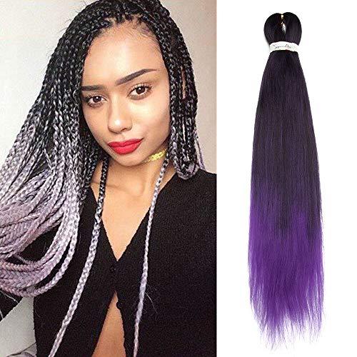 SEGO Extension Pour Tresses Rajout Cheveux Fibre Synthetique Kanekalon Colores Box Braids Crochet Braids - [ 1 Ton 100g ] 26 Pouces (66cm) Noir Naturel+Violet