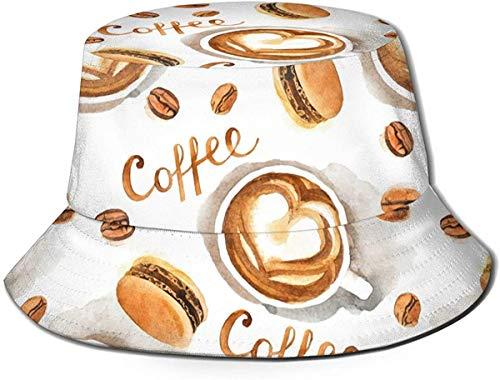 Unisex Shopping Elements Print Travel Bucket Hat Gorra de Pescador de Verano Sombrero para el Sol-Café Postre