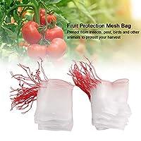 100個の耐摩耗性と耐久性のある巾着メッシュバッグフルーツメッシュバッグフルーツメッシュバッグあなたの収穫を保護するための庭は昆虫を防ぎます