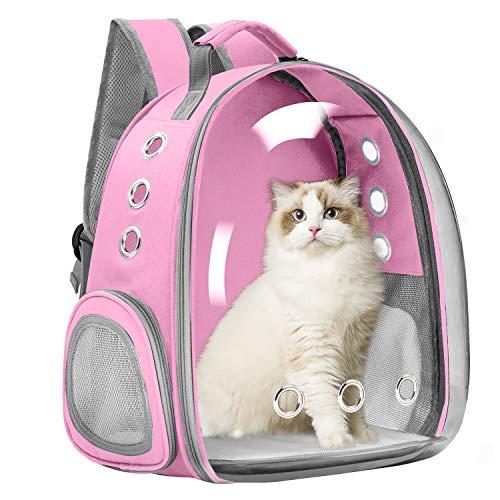 Vailge Mochila de viaje para mascotas, perros, gatos, cápsula de espacio, portátil, bolsa de transporte para mascotas, bolsa de transporte transpirable para gatos, perros pequeños (rosa)