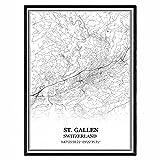 st. Gallen Schweiz Karte Wandkunst Leinwand drucken Poster