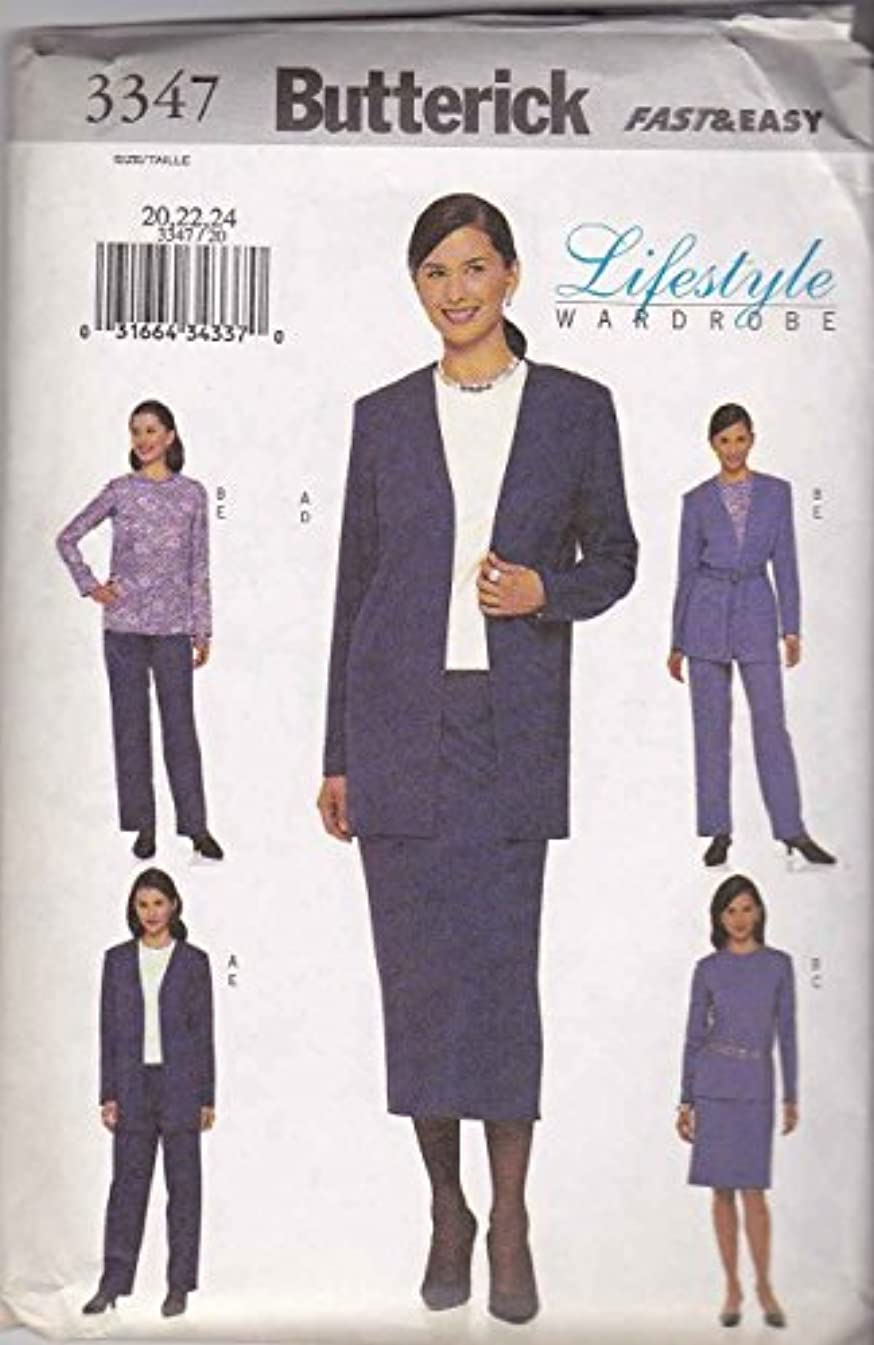 Butterick 3347 Sewing Pattern Misses Jacket,Belt,Top,Skirt & Pants Size 8,10,12