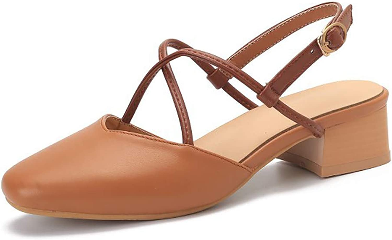 Womens Cross Straps Sandals,Slippers with Belt Buckles,Square Heel Platform Sandals Comfort Work