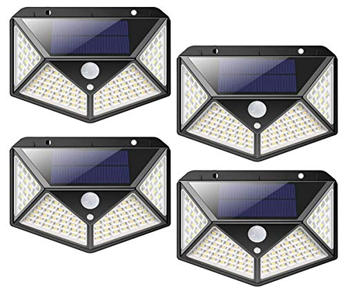Luci solari da giardino esterni,100 luci da giardino a LED solari impermeabili all'aperto con sensore di movimento, 300 ° luci da parete a energia solare 3 modalità per giardino esterno (4 pezzi)