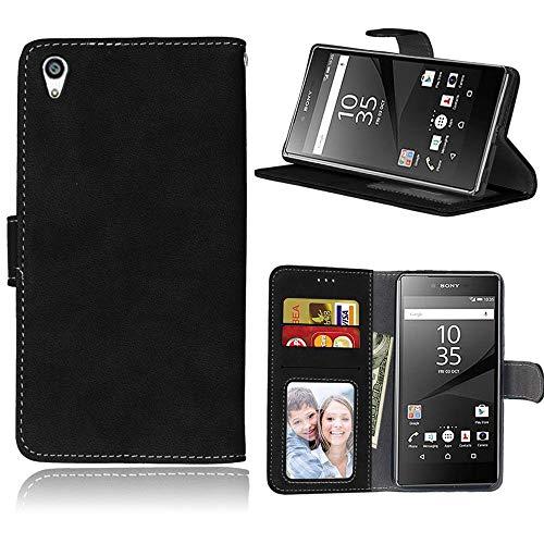 Sangrl Lederhülle Schutzhülle Für Sony Xperia Z5 Premium/Dual / Z5 Plus, PU-Leder Klassisches Design Wallet Handyhülle, Mit Halterungsfunktion Kartenfächer Flip Hülle Schwarz