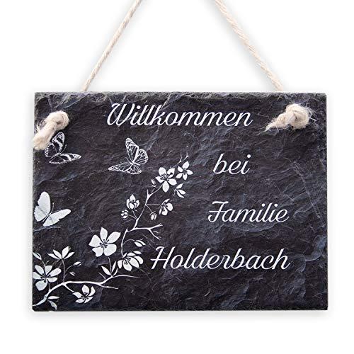 Kreative Feder Schmetterlinge Schiefertafel Türschild mit Wunschtext | personalisiertes Namensschild | Einzugsgeschenk (Anthrazit)