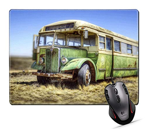 Alfombrilla Ratón Grande Gaming con Superficie Texturizada Impermeable, Base de Goma Antideslizante Autobús, Coche, Transporte, Viaje, Viejo 25X30cm