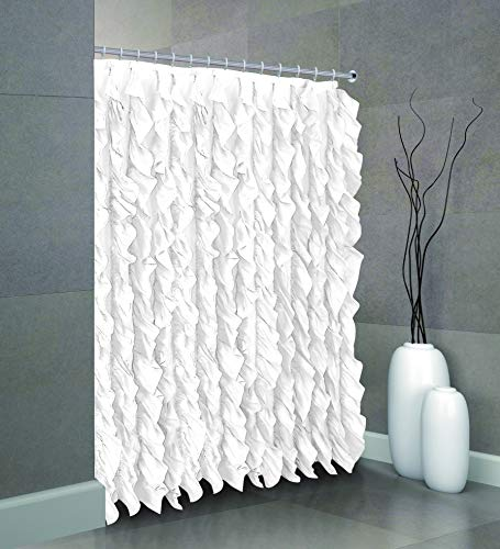 spring Home Waterfall Shabby Chic Ruffled Fabric Shower Curtain (White)