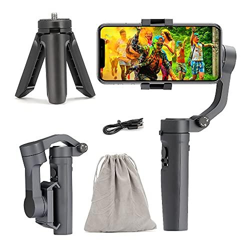 Estabilizador de cardán para smartphone, 3 ejes, estabilizador de teléfono móvil, estabilizador con trípode, seguimiento AI, antivibración, para iPhone 12 11 X XS, Samsung S21, etc.