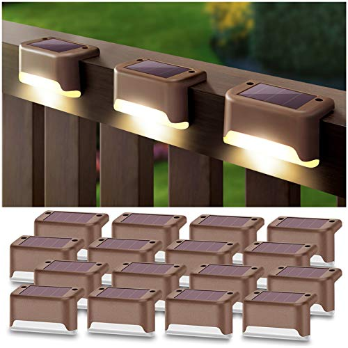 DenicMic Solar Deck Lights 16 Pack Fence Post Solar Lights for Patio Pool Stairs Step and Pathway, Weatherproof LED Deck Lights Solar Powered Outdoor Lights (Warm White)