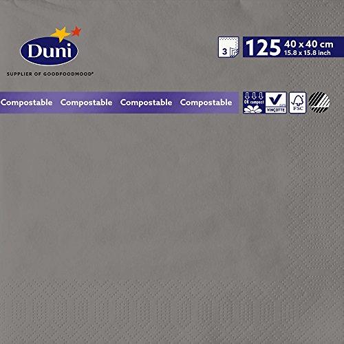 Duni 156918 3 plis Serviettes en papier, 40 cm x 40 cm, granite Gris (lot de 1000)