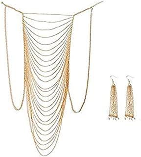 Body Chain Necklace, Women Sexy Belly Women Golden Tassel Crossover Bikini Body Chain Necklace Ear Ring