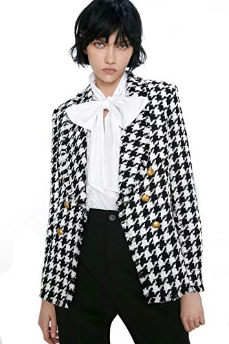 CGWL Chaquetas De Tweed For Mujer Moda De Oficina For Mujer Abrigos De Pata De Gallo Blazer con Borla Negra For Mujer Otoño Vintage Grueso Abrigo A Cuadros For Chicas Chic Mujer Blazer