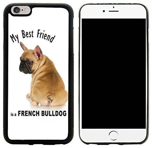 Rikki Knight My Best Friend French Bulldog Brown Design iPhone 6/6s Plus Hybrid Case Cover, Black