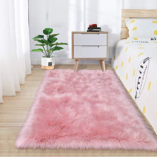 Zareas Super Soft Fluffy Bedroom Rugs, Luxurious Plush Faux Fur Sheepskin Area Rugs for Living Room Indoor Floor Couch Chair...